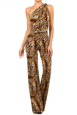 Cheetah Print Convertible Jumpsuit (other colors available)