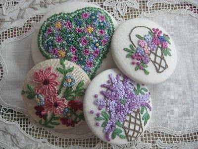 French Knot Buttons Bird Nest On The Ground Hmmm...start making these now for a future granddaughter? They would be beautiful on a tiny winter white coat!
