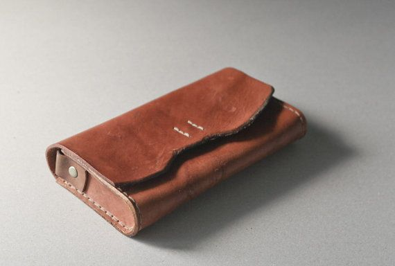 Brown tanned Leather Pencil Case/Pen Pouch/ Sunglasses Case ETSY Bysen