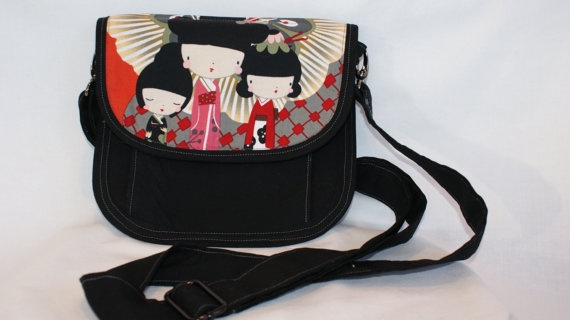 Cross Body Shoulder Purse with Grey Black & Red by SewCurly, $40.00
