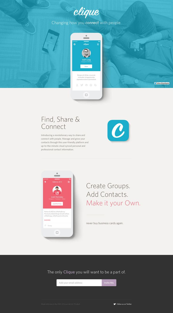 Lovely clear and spacious launching soon page for 'Clique' - an upcoming networking tool. Nice touch using an aerial view of people actually using the product on their phones, not just a stock photo.