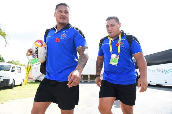 Canberra Raiders Josh Papalii and Joseph Leilua of Samoa arrive at the ground before the start of the 2017 Rugby League World Cup match between Samoa and Scotland at Barlow Park on November 11, 2017 in Cairns, Australia.
