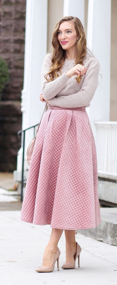 Own the velvet trend this season with this quilted skirt version in a festive candy pink. Fancy Sheen Quilted Velvet Skirt featured by Enchanting Elegance Blog
