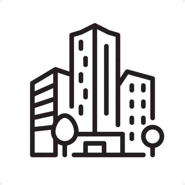 Office Building Professional Outline Black And White Vector Icon Vector Art Illustration Building Icon Icon