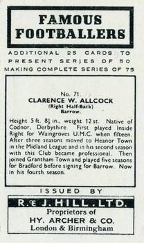 1939 R & J Hill Famous Footballers Series 2 #71 Bill Allcock Back
