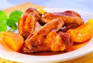 Skrzydełka z brzoskwiniami / Chicken wings with peaches - soczyste skrzydełka z miodem, pieczone w praktycznym woreczku z ćwiartkami brzoskwiń z puszki