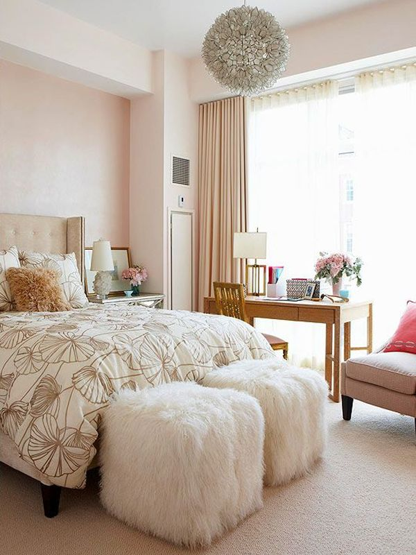 Make your new space feel like a luxury oasis with this cozy bedroom decor featuring soft textiles, pastel colors, and hints of metallic. Try a fresh coat of BEHR paint in Pink Mirage if you love this look. Click for even more makeover inspiration!