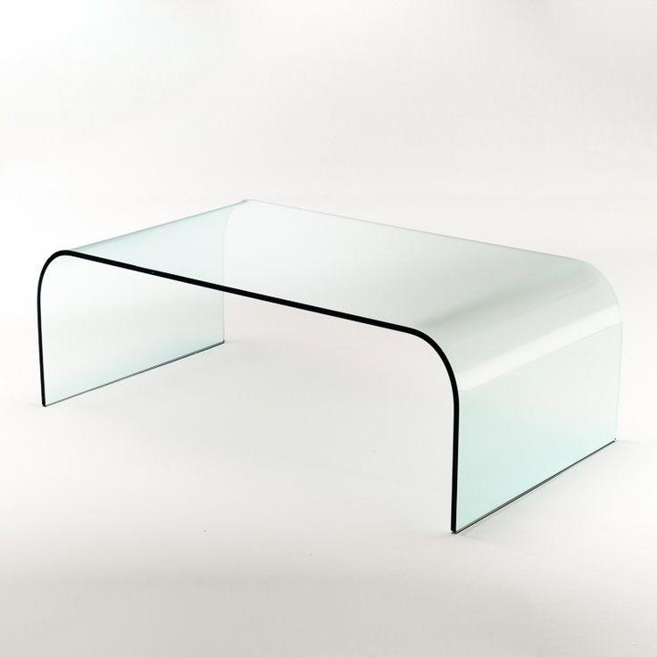 Tavolino rettangolare in vetro curvato