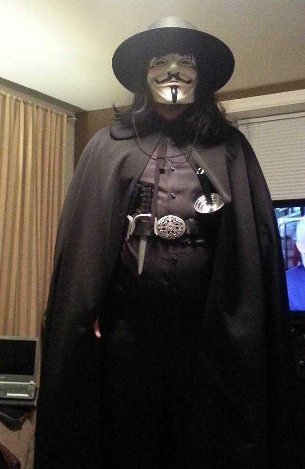 V for Vendetta Cosplay Hugo Weaving V Costume Black Suit Jacket Coat  In Stock