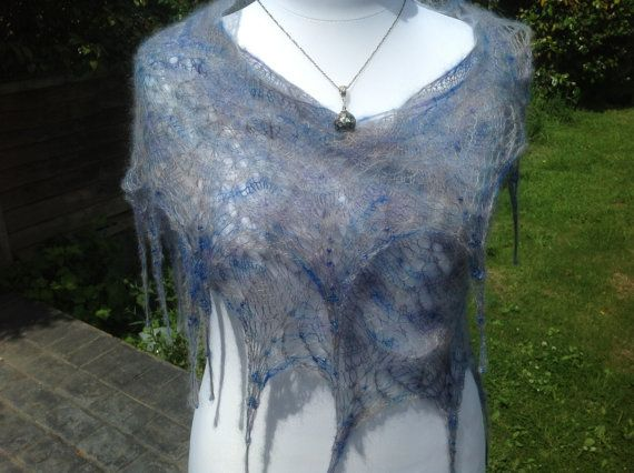 Mohair Silk Hand Knit Lace Shawl by WrapsodyInLace on Etsy, £65.00