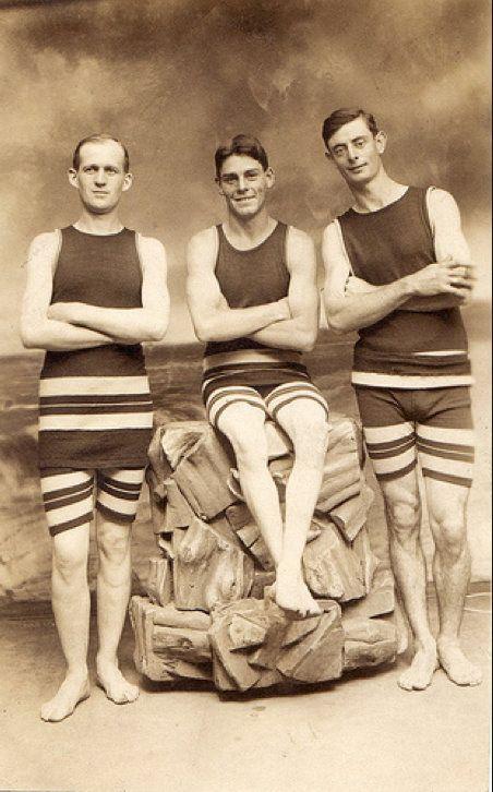 A trio of dapper gents in their beach attire