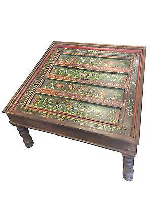 Antique Coffee Table Floral Hand Painted Birds Square Green Red Indian Tables