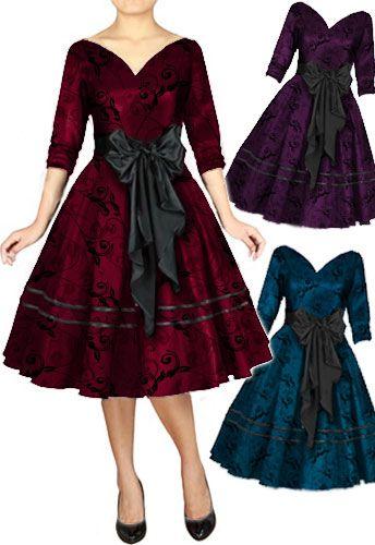 Retro 1950s V Neck Satin Sash Dress by Amber Middaugh #Rockabilly Dress #1950s #Vintage #Retro