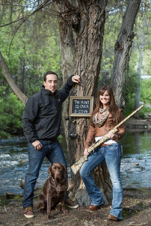 Hunt is Over Engagement shoot wedding save the date ideas dog
