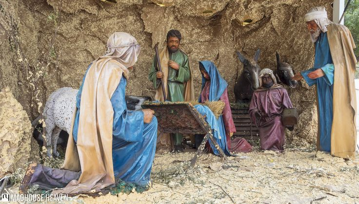 Nativity scene with Jesus and Mary represented as Arabs, and the wise men and shepherds as African or Arabs. Sucupira market, the Plateau, Santiago, Cape Verde