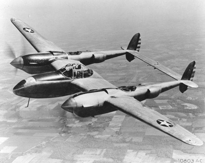 YP-38 Lightning aircraft in flight 28 May 1942.