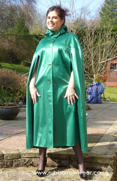 The wearing of the green. A magnificent emerald green rubberized satin cape.