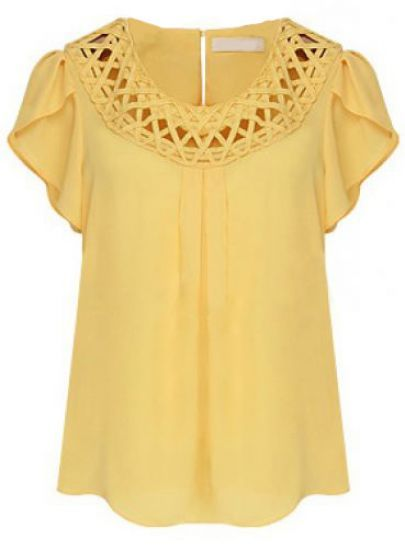 #Yellow Short Sleeve Hollow Loose Chiffon #Blouse