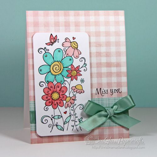 SeaGlass Papercrafts used Serendipity Stamps Butterfly Garden rubber stamp to make her card