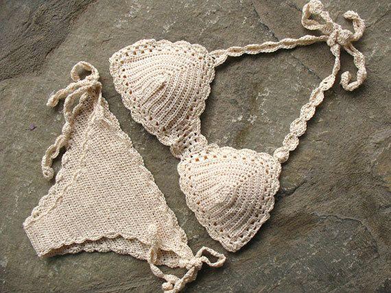 Crochet el bikiní en crema regalo para ella traje de por MarryG
