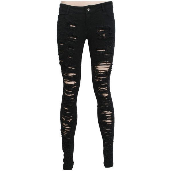 Skinny trousers K-134 PUNK RAVE, black, frayed skinny jeans, gothic (£4.50) ❤ liked on Polyvore featuring jeans, pants, bottoms, calças, whiskered jeans, skinny fit jeans, black denim skinny jeans, skinny leg jeans and punk rock jeans