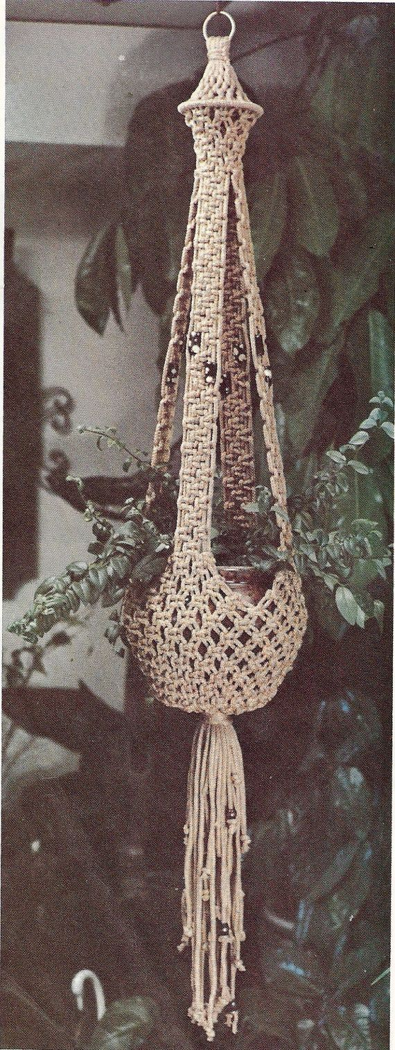 DIRECT downloaden Vintage patroon Macrame plant door JackieKnitsAll