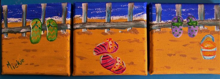 """Beach Scene with Flip-Flops Triptych. Acrylic on stretched canvas, each 4"""" x 4"""" (10 x 10 cm). R300 for the set. Contact Marietjie at uys.marietjie@gmail.com. Free delivery in Gauteng."""