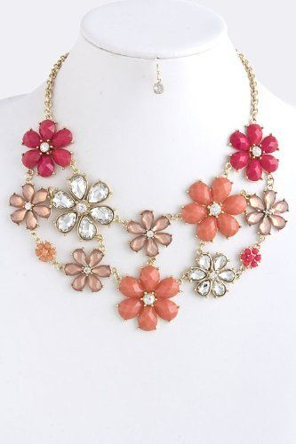 "Jewel And Crystal Flower Interlink Statement Necklace - Gold Accent Acrylic Jewel And Crystal Chain Link Statement Necklace StarShine Jewelry. $38.40. Total length 18"" (clasp to end). Lobster claw clasp with 3"" extender. Lead compliant. Jewel flower interlink necklace"