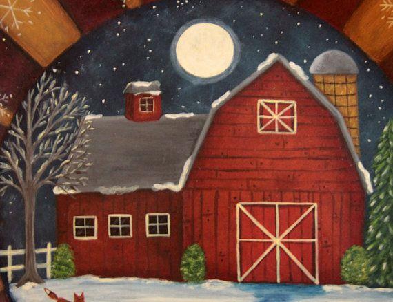 Christmas - Winter Folk Art Hand Painted Primitive by Ravensbend, $34.00
