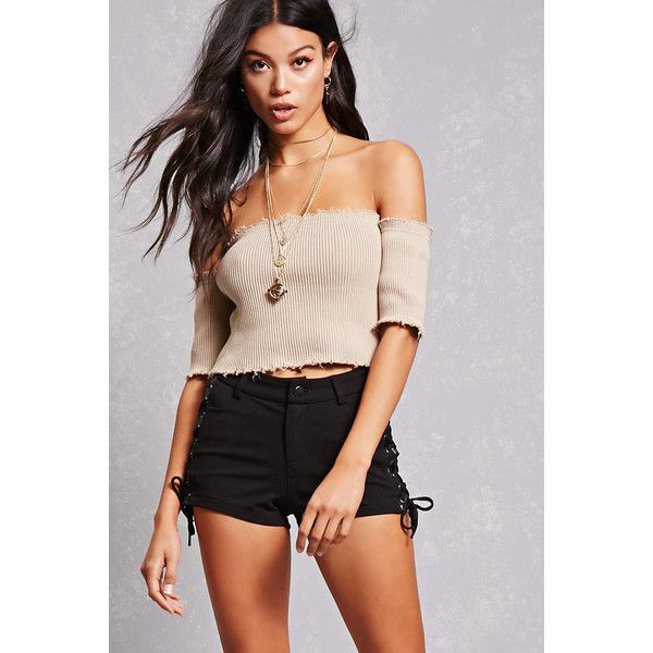 Forever21 Lace-Up Grommet Shorts ($18) ❤ liked on Polyvore featuring shorts, black, lace up shorts, rayon shorts, laced shorts, forever 21 and eyelet shorts