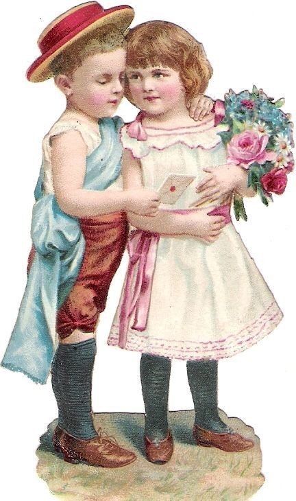 Oblaten Glanzbild scrap die cut chromo Kind child Paar couple Brief letter