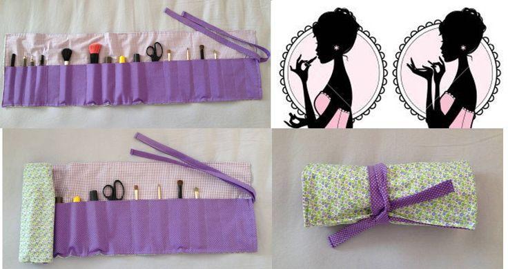 Porta Pincéis/Rimel/Lápis para maquiagem feito com tecido!