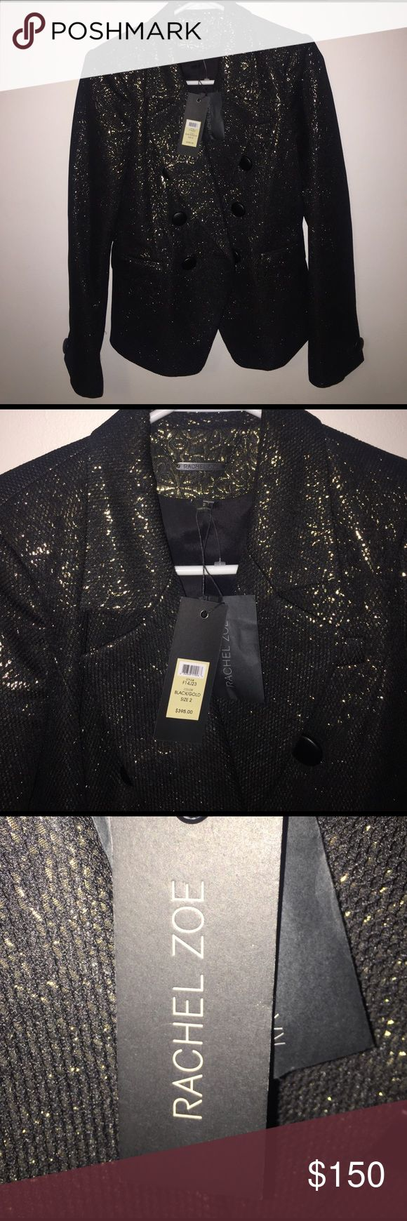 Rachael Zoe black gold Blazer size 2 NWT Rachael Zoe Blazer black gold sparkle NWT style F14J23 size 2 perfect for all occasions please see tag for more information Rachel Zoe Jackets & Coats Blazers