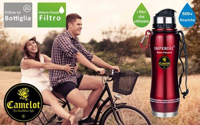 Acciaio inox Bottiglia Portatile con filtro acqua Imperial. Ora è possibile filtrare l'acqua in qualsiasi momento, ovunque con qualità garantita.