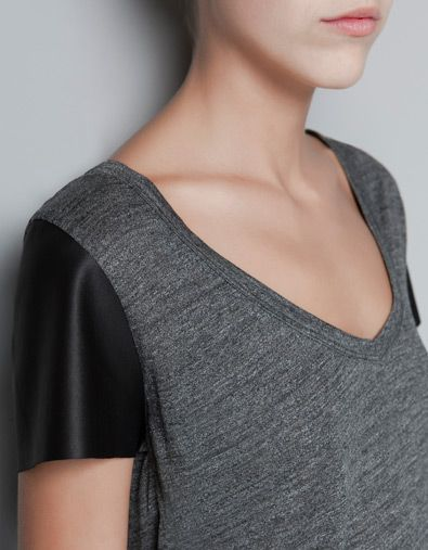 T-SHIRT WITH FAUX LEATHER SLEEVES - T-shirts - Woman - ZARA