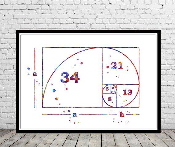 Golden Ratio Fibonacci Spiral Watercolor Print Fibonacci Sequence Numbers Math