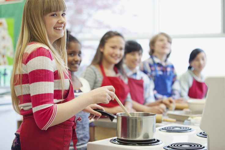 middle school students in cooking class - middle school students in cooking class
