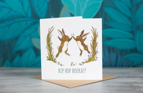 Rabbit Greeting Card - 'Hip Hop Hooray!' by PaperVeilStationery now at https://ift.tt/2G5nNwc