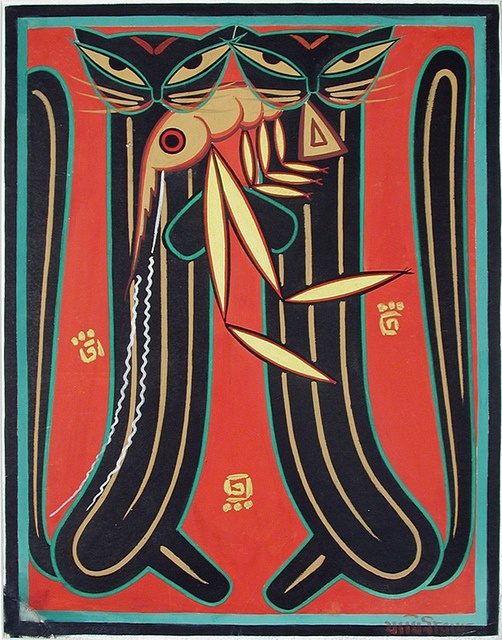Two cats holding a large prawn |  Jamini Roy