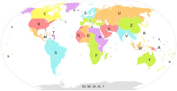 International Civil Aviation Organization airport codes Map of world regions classified according to the first letter of the ICAO airport code.