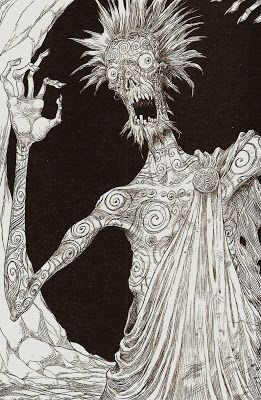 The Indigo man, from The Graveyard Book by Neil Gaiman, illustrated by Chris Riddell