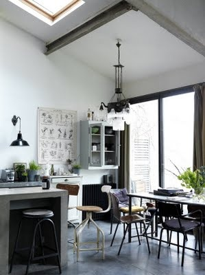 concrete counters and light