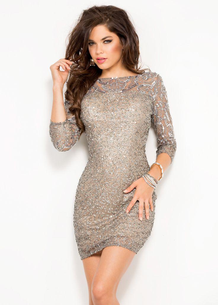 Scala 48524 Sparkling Beaded Illusion Short Dress