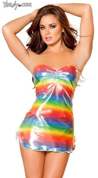 Metallic Rainbow Pucker Top Mini Tube Dress, Rainbow Dress, Sexy