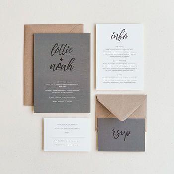 Signature Wedding Invitation / Grey
