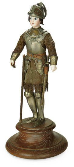 All-Original French Bisque Poupee in Suit of Armor, Joan of Arc, Mounted on Wooden Base