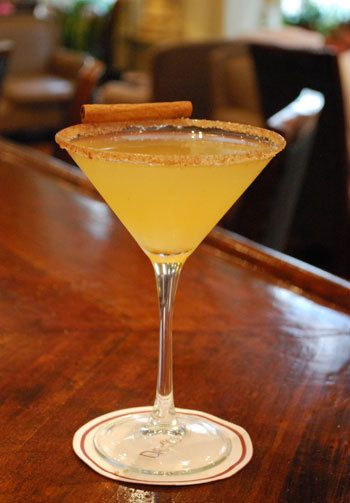 Apple Cider Martini 2 oz vodka 2 oz apple cider 1 oz brandy 1 oz triple sec 1/2 tbsp lemon juice, freshly squeezed 1/4 tsp cinnamon, ground 1/4 tsp brown sugar 1/4 tsp superfine (caster) sugar Garnish with a cinnamon stick (optional)