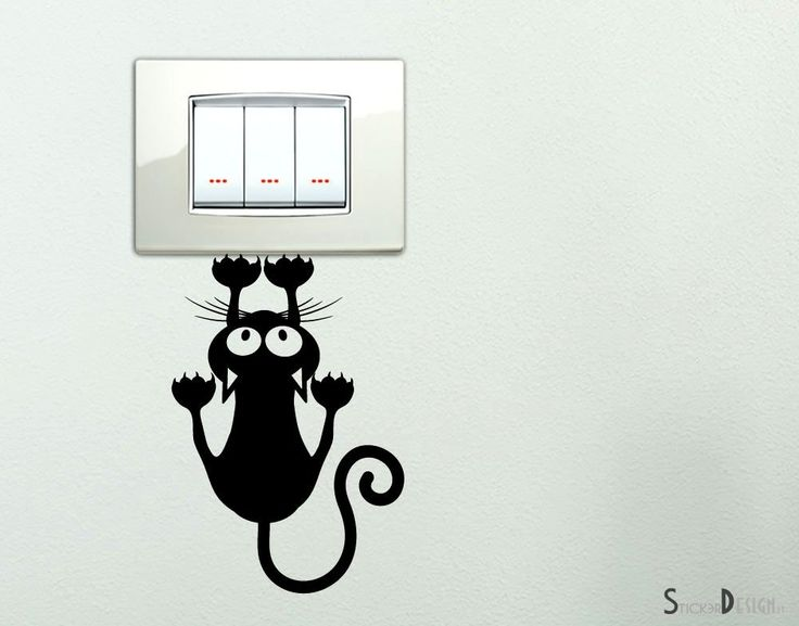 Adesivi per interruttore spine placche Adesivo Gattino che si arrampica sul muro Wall Stickers decorativo Gatto Adesivo Murale Decorazione Cameretta: Amazon.it: Casa e cucina
