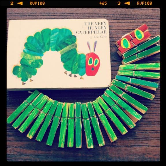 DIY Kids Craft: Make Eric Carle's Very Hungry Caterpillar From Clothespins.
