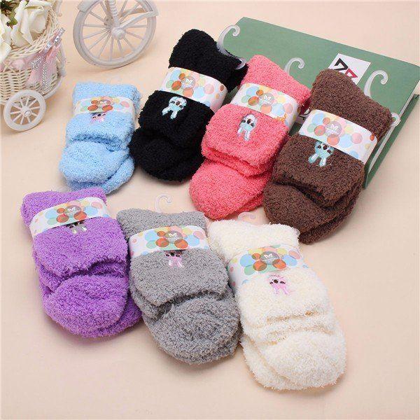 Women Cute Thick Fuzzy Animal Short Ankle Socks Hosiery Candy Colors #Socks&Hosiery